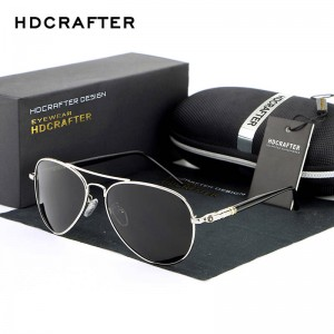 New Fashion Polarized Mens Sunglasses High Quality Polarized UV400 Alloy Frame HDCrafter Oval Glasses