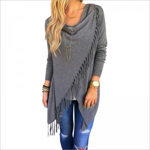 New Fashion Tassel Coats Long Sleeve Knitted Cardigan Loose For Women Thumbnail