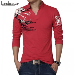 New Fashion Trend Slimfit Long Sleeve T Shirt V Neck Cotton Latest For Men Thumbnail