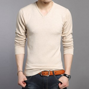 New Knitted Bottoming Shirt Soft Warm Cashmere Sweater Men Winter Clothing Slim Fit V Neck Pullover Men Wool Sweaters