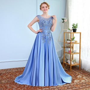 New Luxury Satin Long Evening Dress the Bride Banquet Sleeveless Lace Flower Beading Prom Formal Gown Robe De Soiree