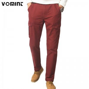 New Men Cargo Pants Casual Wear Twill Cotton Regular Straight Fit Pant Multi Color Red Blue Khaki Male Trousers