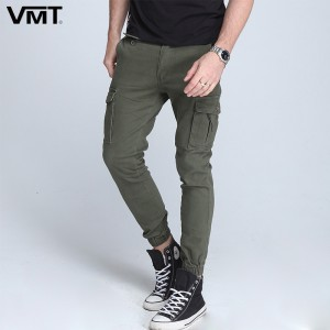 New mens pants Elastic foot close Skinny Pants Tactical military Mens Cargo Pants Multi pocket Overalls  Cargo Pants