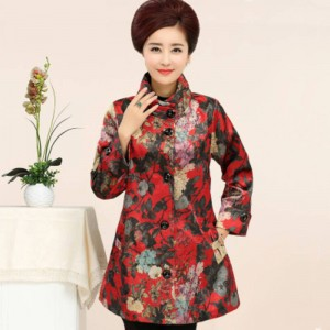 New Mother Loose Casual Floral Prints Coats Windbreakers For Women Thumbnail