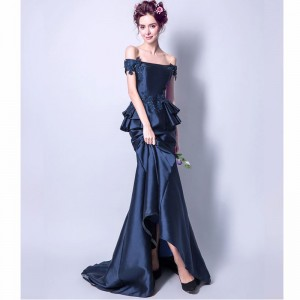 New Sleeveless Boat Neck Evening Gowns Beading Satin Floor Length Luxury Mermaid Evening Dress Formal Party Ware