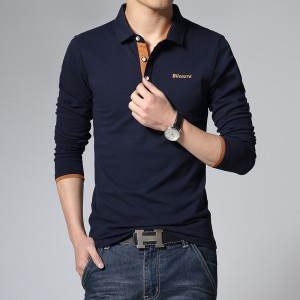 New Solid Color T Shirt Long Sleeved T Shirt Men Cotton Tees Business Tops Tees Cotton Tess Summer Style