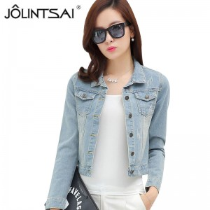 New Spring Autumn Vintage Fashion Slim Denim Jacket For Women Casual Frayed Jeans Jacket Woman Denim Coat