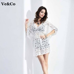 New Spring Beach Cover Ups Beach Wear White V Neck Swimsuit Cover Ups For Women Bathing Dress Bikini Thumbnail