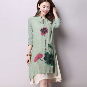 New Spring Casual Long Sleeve Cotton Linen Simple Dress For Women Latest Thumbnail
