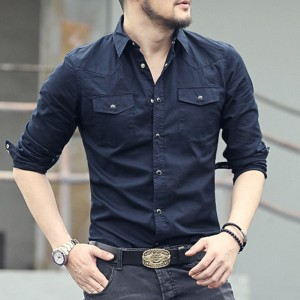 New spring double pocket Mens Fashion shirt brand men long sleeved solid shirts slim fit Casual Men Shirt Social