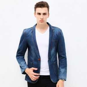 New Spring Fashion Brand Men Blazer Men Trend Jeans Suits Casual Suit Jean Jacket Men Slim Fit Denim Jacket Suit Men
