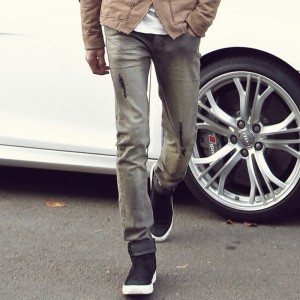 New spring retro wash jeans men slim ripped wrinkled design jeans Mens Fashion Brand Slim Straight Jeans new design