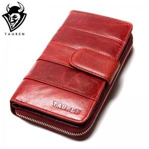 New Style Oil Wax Cowhide Medium Paragraph Buckle Hig Quality Leather Wallet For Women Thumbnail