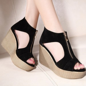 New Style Sandals Woman Summer Platform Wedges Vintage High Heels Open Toe With Zippers Sandalias Zapatos Mujer