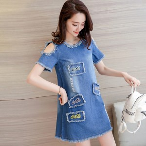 New Summer Big Size Denim Sundress Women Jeans Casual Off Shoulder A Line Embroidery Dresses Cheap Clothing