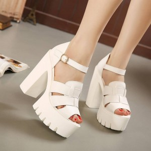 New Summer Peep Toe Square Heel Platform Gladiator Buckle Sandals Women Thumbnail
