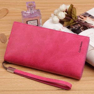 New Vintage Women Wallet Phone Bag Candy Color Clutches Nubuck Leather Purse For Women Thumbnail