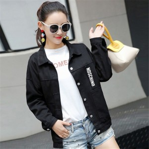 New Women Brand Fashion Spring Autumn Denim Jacket Women Long Sleeve Casual Loose Black White Short Jeans Jacket Coats