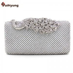New Women Clutch Luxury Full Diamond Evening Bags Rhinestone Peacock Buckle Bridal Messenger Clutch Thumbnail