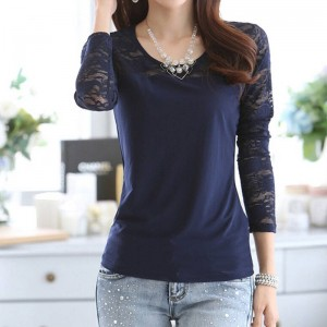 New Women Floral Long Sleeve Tops Round Neck Casual Tees Unique Design For Women Thumbnail