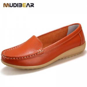 New Women Genuine Leather Flat Slip On Casual Leather Hot Shoes For Women Thumbnail