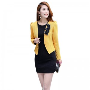 New Women Office Style Short Flower Coat Jacket Slim Long Sleeve Blazer For Women Thumbnail