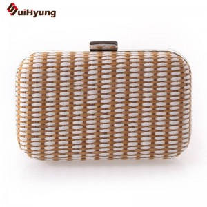 New Women Stitching Handbags Hand Woven Clutches Evening Dinner Party Clutches Ladies Purse Messenger Bags Thumbnail