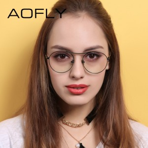 Oval Glasses High Quality Vintage Brand Designer Clear Lens Classic Unisex Optical Metal Frame Plain Eyeglasses