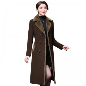 Plus size 4XL Double Breasted Wool Jacket Womens Clothing Autumn Winter Trench Woolen Coats Warm Cashmere Coats