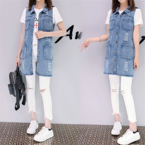 Plus Size Fashion Washed Four Pockets Decorated Women Denim Vest New Brand Sleeveless Chaquetas Mujer Veste Femme