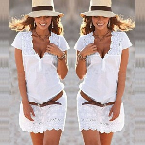 Plus Size Vestidos Mini White Lace Crochet Sexy Low Cut V Neck Short Sleeve Women Dress Bodycon Party Night Club Dress