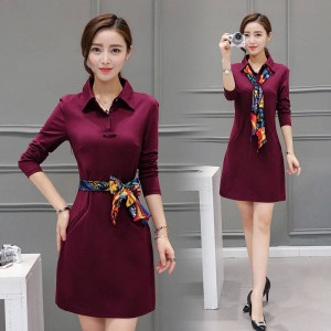 Plus Size Women Casual Dress Cute Solid Color Long Sleeve One Piece Dress For Women Thumbnail
