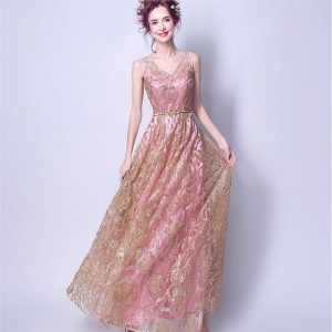 Popular Picture Perfect V Neck Sleeveless Evening Gowns Bling Sequined Flower Form Evening Party Prom Dress