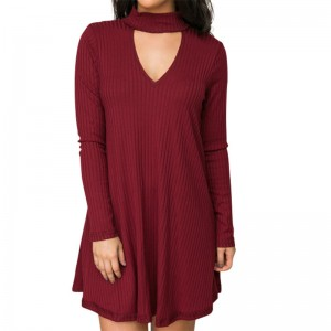 Pretty Autumn Dress For Women Knitted Mini Dress Long  Sleeve A Line High Neckline Loose Sexy Dress Plus Size Dress