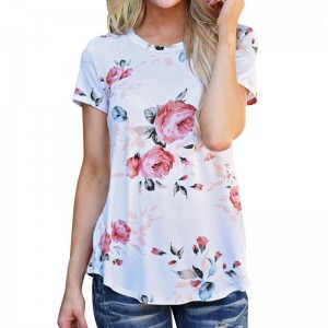 Print Pink Rose Flower Floral Women Summer Tops Tee Shirt Femme Short Sleeve T Shirt Female White Blue Fashion