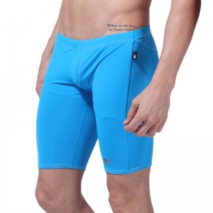 Professional Solid Men Swim Trunks Long Racing Swimming Sport Short Classic Men Swimwear Pants Bathing Surf Wear