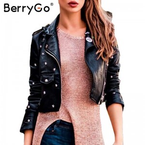 PU leather jacket coat female rivet outerwear coats Zipper basic jackets faux leather coat Autumn winter jacket women