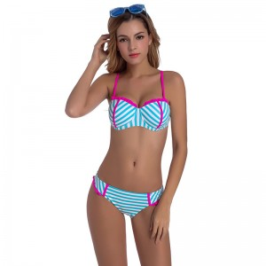 Push Up Bikinis Women Swimsuit Sexy Bandeau Swimwear Female Retro 2018 Bikini Set Beach Wear Striped Bathing Suit
