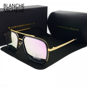 Rectangle Luxury Sunglasses For Men Women Polarized Pink Coating Mirror Polarized UV400 Hombre Male Shades