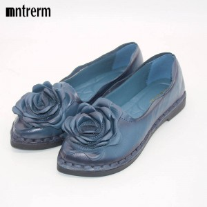 Retro Shoes Genuine Handmade Leather Soft Driving Shoes Comfortable Women Thumbnail