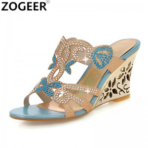 Rhinestone Wedge Heel Slippers Peep Toe Summer Women Shoes Sexy Wedges Non Slip High Heel Flip Flop