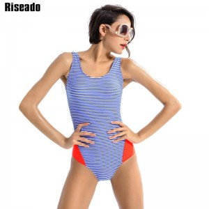 Riseado New One Piece Swimsuit Sports Swimwear Striped Sports Swimming Suits Lace Up Beachwear Swimsuit Thumbnail