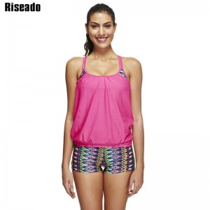 Riseado New Summer Swimwear Swimsuit Two Piece Swimwear Tankini Print Sports Padded Beachwear Bathing Suits Thumbnail