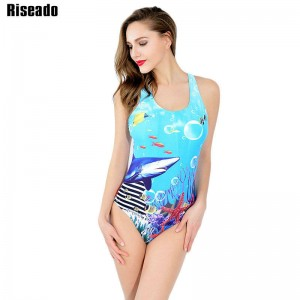 Riseado One Piece Swimsuit Sportswear Brand Suits Swimwear Women Sexy Printing Backless Bathing Suit New Thumbnail