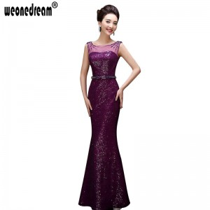 Sequins Soft Evening Dress Floor Length Party Dress Purple Plus Size Formal Elegant Party Dress For Women Thumbnail
