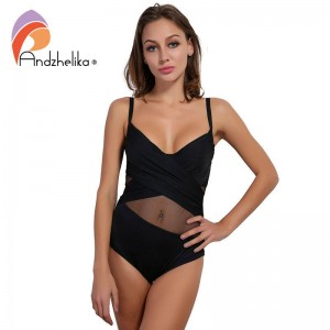 Sexy Beach One Piece Swimsuit Solid Patchwork Soft Mesh Backless Bodysuit Bathing Suit Bikini For Women Thumbnail