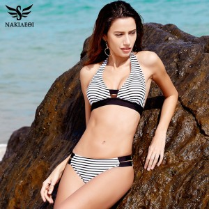 Sexy Bikinis Women Swimsuit Swimwear Halter Plaid Cut Out Brazilian Bikini Set Bathing Suits Summer Beach Wear XL