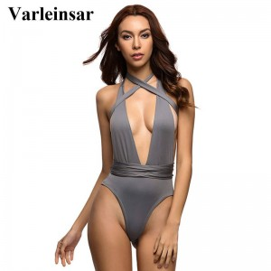 Sexy Deep V Neck High Waist One Piece Swimsuit Swimwear Bathing Suit Bandage Bodysuit Romper For Women Thumbnail