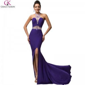 Sexy Dress Robe Grace Karin Halter Split Sequin Beaded Halter Backless Formal Gowns Purple Party Mermaid Dresses