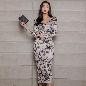 Sexy Floral Print Pencil Bodycon Dress Women 2019 Spring Elegant Full Sleeve Split Female Dress Casual Sheath Vestidos